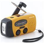 手回し&ソーラー充電 ラジオライト/防災グッズ 【幅約13cm】 LEDライト USB充電 AM/FMラジオ 生活防水