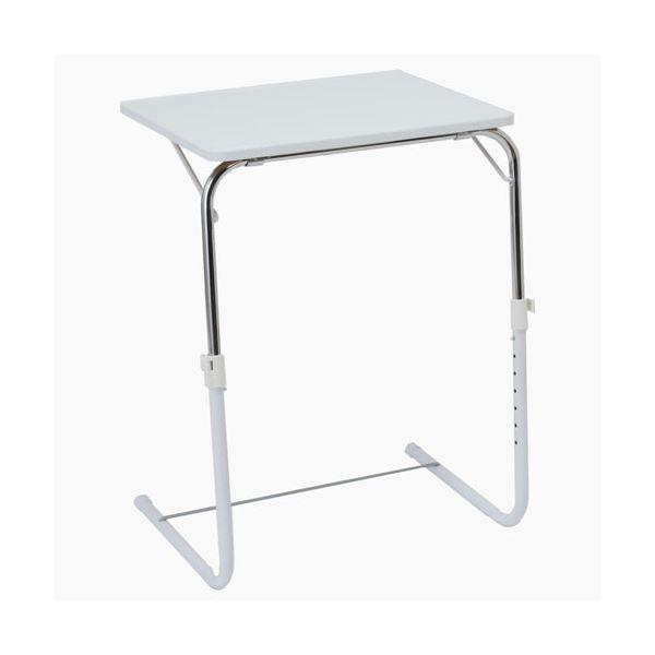 コンパクト 折りたたみテーブル 【ホワイト】 幅約53.5cm スチール 収納便利 角度調整可 補強バー付 〔リビング ダイニング〕