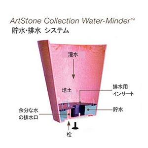 【4個入】 底面給水型植木鉢/プランター 【ラウンド型 グレー 直径17cm】 底栓付 『アートストーン』 〔園芸用品〕