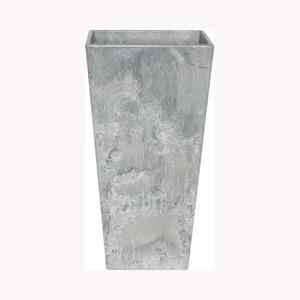 底面給水型植木鉢/プランター【トールスクエア型グレー幅26cm×高さ49cm】底栓付『アートストーン』〔園芸用品〕