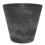 【4個入】 底面給水型植木鉢/プランター 【ラウンド型 ブラック 直径17cm】 底栓付 『アートストーン』 〔園芸用品〕