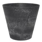 底面給水型植木鉢/プランター アートストーン 【ラウンド型/32cm】 底栓付 ブラック(黒) 〔ガーデニング用品/園芸〕
