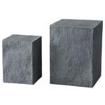 【2サイズ×1セット】 軽量コンクリート製 花台スタンド/プランタースタンド 【スレート型 グレー】 オランダ製