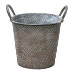 ブリキ製植木鉢 ウーノ ダイス 穴有り  25×21×22cm  2個入り