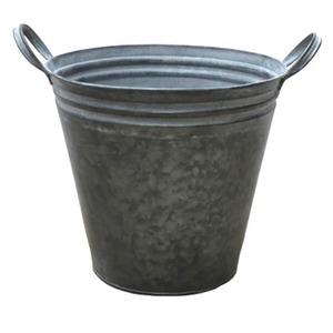 ブリキ製植木鉢 ウーノ GMラウンド 穴有り  22×20cm 2個入り