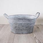 ブリキ製植木鉢 ウーノ GMオーバル 26x20x14cm 穴有り 2個入り