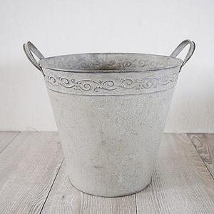 【2個入】 ブリキ製植木鉢/プランター 【ラウンド型 直径25cm】 穴有り 手作り 『ウーノ リーフ』 〔ガーデニング用品〕