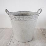 【2個入】 ブリキ製植木鉢/プランター 【ラウンド型 直径21.5cm】 穴有り 手作り 『ウーノ リーフ』 〔ガーデニング用品〕