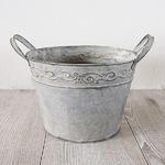 ブリキ製植木鉢 ウーノ リーフボールラウンド 20x14cm 穴有り 3個入り