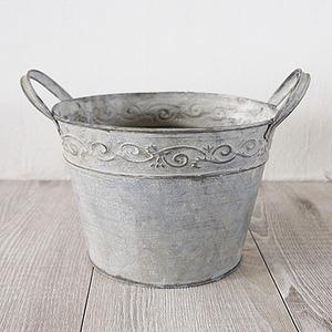 ブリキ製植木鉢 ウーノ リーフボールラウンド 17x12cm 穴有り 3個入り