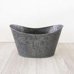 ブリキ製植木鉢 ウーノ GMシップオーバル  31x18.5x18.5cm 穴有り 2個入り