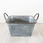 ブリキ製植木鉢 ウーノ ロースクエアー  26.5x26.5x14cm 穴有り 2個入り