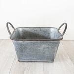 ブリキ製植木鉢 ウーノ ロースクエアー  23.5x23.5x13cm 穴有り 2個入り