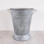 ブリキ製植木鉢 ウーノ ラウンド足付  27x34cm 穴有り