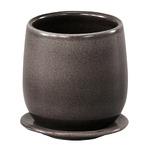 インテリアポット 陶器製植木鉢 カーム ボール グレー 17cm 皿付 2個入り