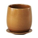 インテリアポット 陶器製植木鉢 カーム ボール イエロー 17cm 皿付 2個入り