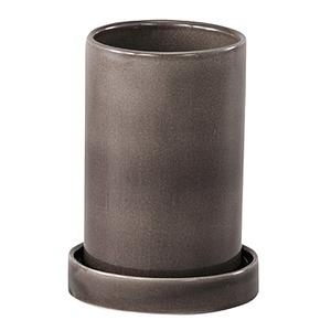 インテリアポット 陶器製植木鉢 カーム シリンダー グレー 18cm