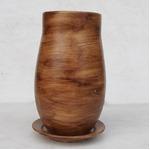 インテリアポット 陶器製植木鉢 ウィート トールボール 16cm ライトブラウン 皿付