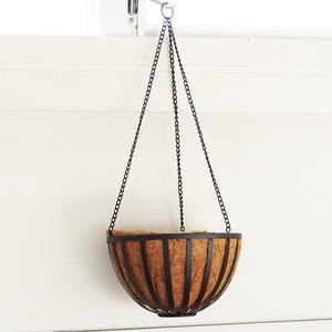 吊下げ型プランター/植木鉢 【アンティークブラック 直径30cm】 鉄製 フラットバーアイアンハンギング 『カルチベーター』