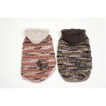 Knit Stripe Hood T S (Brown)