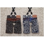 Paisley Denim Pants L (Blue)