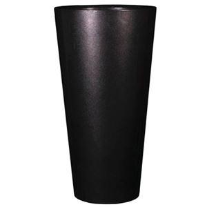 ヴォーグ トールラウンド メタリックブラックH49cm /中底網付(穴無し) /植木鉢
