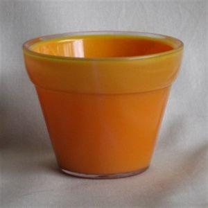 イタリア製樹脂ポット(植木鉢/プランター) ジェリー φ20cm/穴無し オレンジ 〔ガーデニング用品/園芸〕