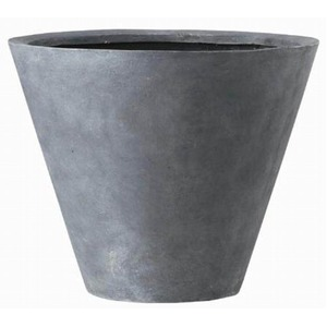 軽量植木鉢/プランター【深型グレー直径40cm】穴有ファイバー製『LLシンプルコーン』