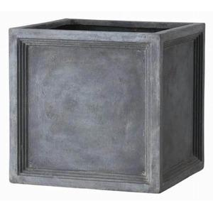 軽量植木鉢/プランター【Pキューブ型グレー幅39cm】穴有ファイバー製『LLブリティッシュ』