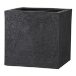 樹脂製 植木鉢/プランター 【ブラック 幅40cm】 底穴あり 新素材ポリストーンライト使用 『リガンデ キューブ』