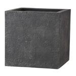 新素材ポリストーンライト リガンデ キューブ 50cm グレー /樹脂製植木鉢
