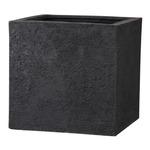 樹脂製 植木鉢/プランター 【ブラック 60cm】 底穴あり 新素材ポリストーンライト使用 『リガンデ キューブ』