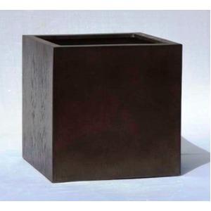 木目調樹脂製鉢カバー MOKU キューブ 40cm