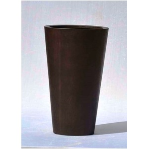 木目調樹脂製鉢カバー MOKU ラウンド 33xH54cm