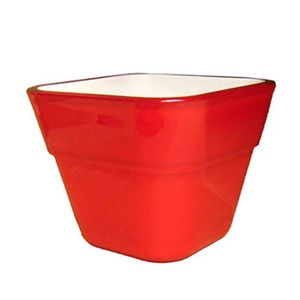 【4個入】イタリア製樹脂ポット(植木鉢/プランター) コッコスクエアー 7cm/穴無し レッド 〔ガーデニング用品/園芸〕