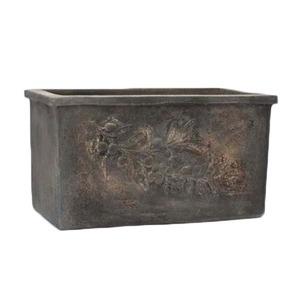 アンティーク調・テラコッタ鉢 オリーブ レクタングル アンティコ ダルブラウン 45cm 植木鉢