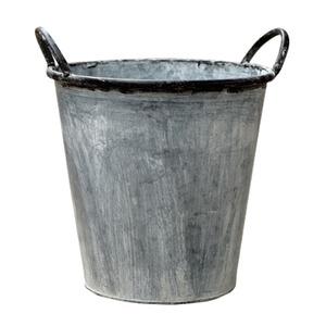 ブリキ製植木鉢 ウーノ ラウンド穴有り 31x30