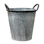 ブリキ製植木鉢 ウーノ ラウンド穴有り 24x23