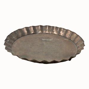 【2個入】ブリキ製植木鉢用受け皿/ソーサー【ブラウン直径24cm】キャンディーソーサーBR『ウーノ』