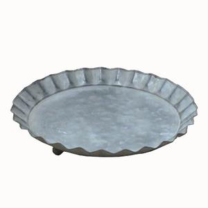 【3個入】ブリキ製植木鉢用受け皿/ソーサー【シルバー直径21cm】キャンディーソーサーBW『ウーノ』