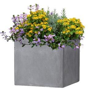 ファイバークレイ製 軽量 大型植木鉢 バスク キューブ 40cm グレー