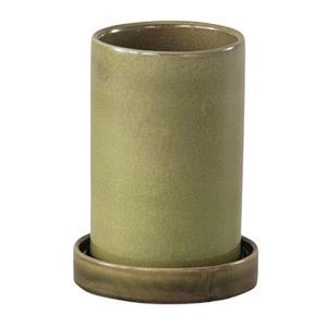 インテリアポット 陶器製植木鉢 カーム シリンダー グリーン 12cm 2個入り