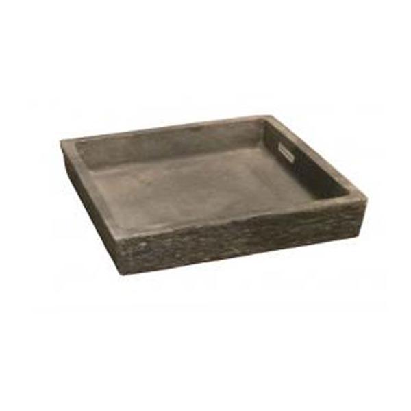 新素材ポリストーンライト ビアス ソーサー スクエアー グレー 44x44cm /樹脂製植木鉢用受皿