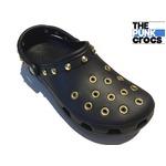ゴールド パンク クロックス クラシック カスタム 黒 金 ブラック crocs サンダル 29cm(M11)