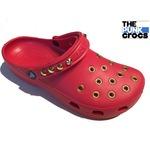 ゴールド パンク クロックス クラシック カスタム 赤 金 レッド crocs サンダル 24cm(M6/W8)