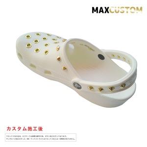 クロックス パンク カスタム 純金メッキ加工 白 crocs custom クラシック(ケイマン) クロッグ サンダル 28cm(M10/W12)