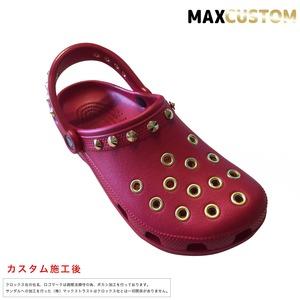 クロックス パンク カスタム 純金メッキ加工 赤 レッド crocs custom クラシック(ケイマン) クロッグ サンダル【クロカスタム】 24cm(M6/W8)