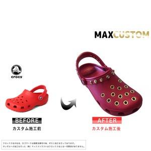 クロックス パンク カスタム 純金メッキ加工 赤 レッド crocs custom クラシック(ケイマン) クロッグ サンダル 27cm(M9/W11)