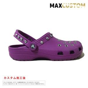 クロックス パンク カスタム 紫 crocs custom クラシック(ケイマン) クロッグ サンダル 25cm(M7/W9)