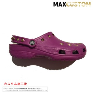 クロックス パンク カスタム 純金メッキ加工 紫 crocs custom クラシック(ケイマン) クロッグ サンダル 27cm(M9/W11)